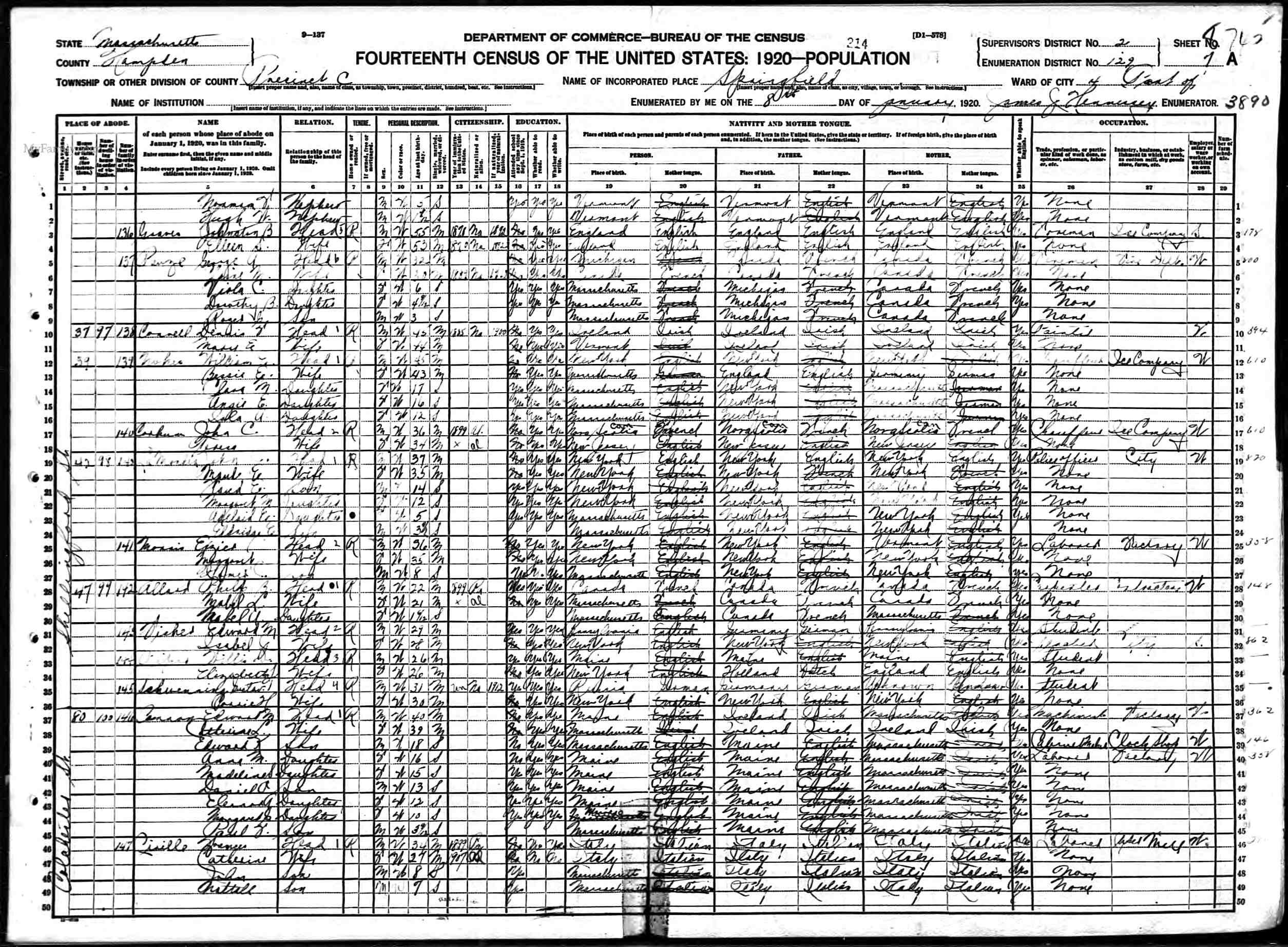 26 november 2008 the george pauze family of massachusetts 1920 census george pauze springfield mass aiddatafo Image collections